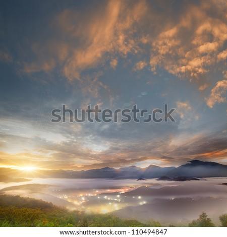 sunrise of mountains landscape