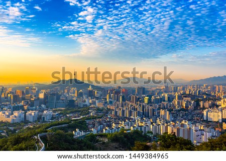 Sunrise of Seoul Downtown cityscape . Aerial view of Nansan Seoul Tower and lotte tower. Viewpoint from Inwangsan mountain best landmark of Seoul , South Korea #1449384965