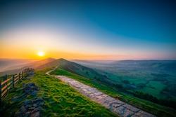 Sunrise of The Great Ridge at Mam Tor hill in Peak District