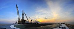 Sunrise,Oil Rig Panoramic 2