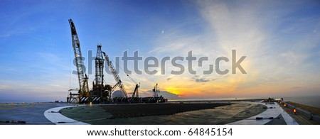 Sunrise,Oil Rig Panoramic 2