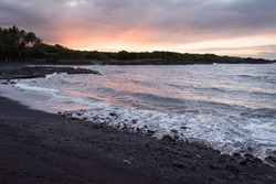Sunrise on a black-sand beach