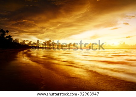 sunrise on Caribbean beach