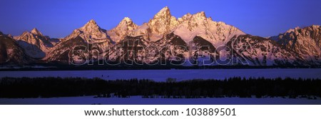 Sunrise on Grand Tetons, Grand Teton National Park, Wyoming