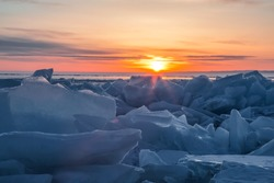 Sunrise on lake Baikal in winter, Eastern Siberia, Russia