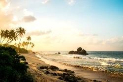 Sunrise on ocean beach.