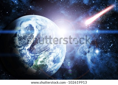 sunrise on planet in beautiful space Elements of this image furnished by NASA