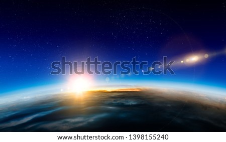 Sunrise on planet orbit, space beauty #1398155240