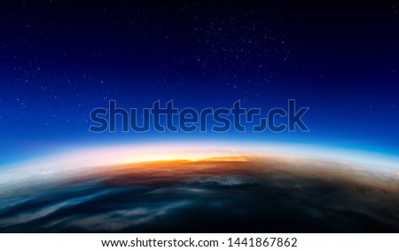 Sunrise on planet orbit, space beauty #1441867862