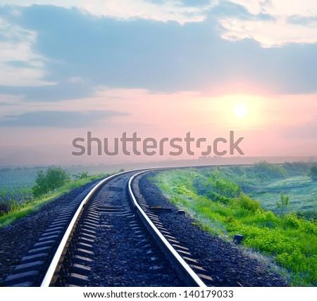 sunrise on railroad