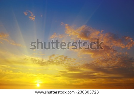 sunrise on the background of cloudy sky #230305723