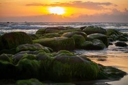 sunrise on the beach at Binh Thuan beach, Vietnam