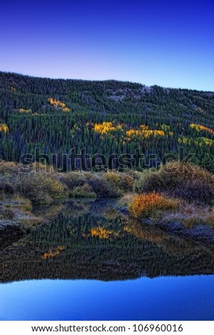 sunrise on the bear with autumn colors and reflections in the water/ Sunrise on the Bear River