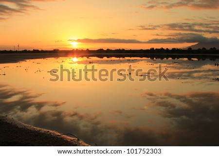 Sunrise on the Great Salt Lake, Utah. - stock photo