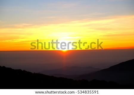 sunrise on the mountain #534835591