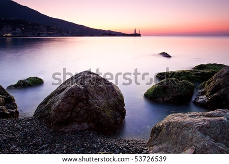 sunrise on the rocky coast of Black sea. Crimea, Ukraine