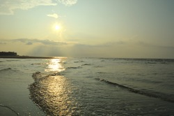 sunrise on the sea of bay of bengal ,west bengal ,India