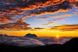 Sunrise on the summit of Haleakala on the Hawaiian Island of Maui