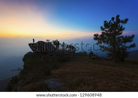 Sunrise on the top of mountain in Thailand