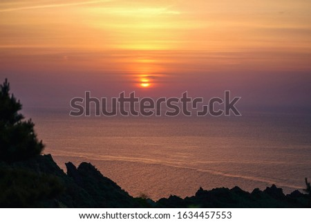 Sunrise on top of Sunrise Peak, Jeju Island, South Korea