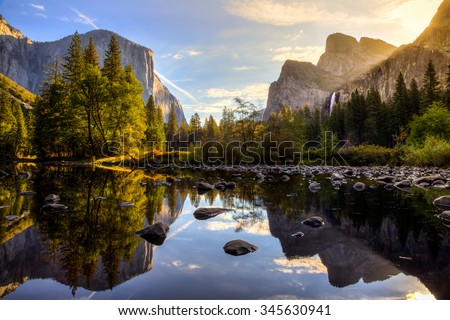 Stock Photo Sunrise on Yosemite Valley, Yosemite National Park, California