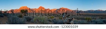 Sunrise over a mountain range in Red Rock State Park near Las Vegas, Nevada.