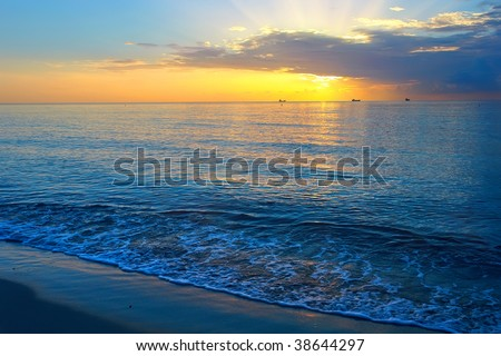 Sunrise over Atlantic ocean, Miami, FL, USA - stock photo