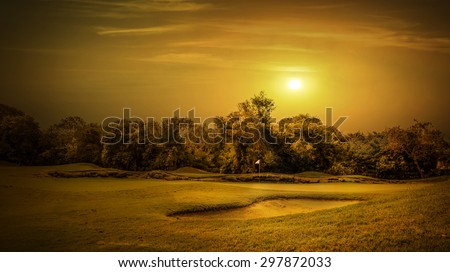 Sunrise over beautiful golf course on mayan riviera in Mexico