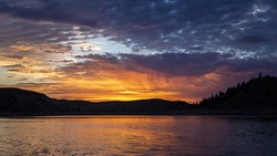 Sunrise over Blue mesa reservoir in Colorado