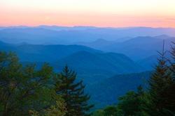Sunrise over blue ridge parkway