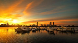 Sunrise over Boston city with boat and harbor, Boston, USA, United stages of America