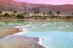 Sunrise over Dead Sea. Beautiful nature. Nature landscape. Dead sea salty shore in the morning.