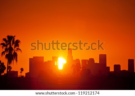 Sunrise over downtown Los Angeles skyline. Still photo from timelapse sequence.