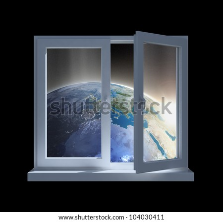 Sunrise over Earth seen from a partially opened window