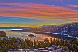 Sunrise over Emerald Bay in Lake Tahoe