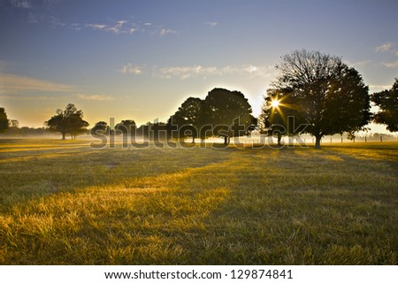 Stock Photo Sunrise over field with light fog.