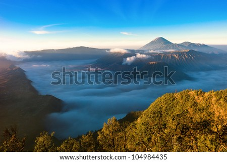 Sunrise over Gunung Bromo Volcano in Indonesia