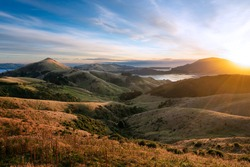 Sunrise over Hoopers Inlet, Otago Peninsula, Dunedin, Otago, New Zealand
