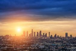 Sunrise over Los Angeles city skyline