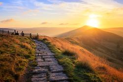 Sunrise over Mam Tor in Peak District on sunny morning in hope valley, Uk.