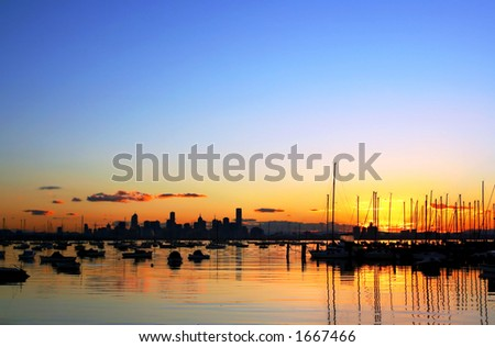 Sunrise over Melbourne, viewed from Williamstown