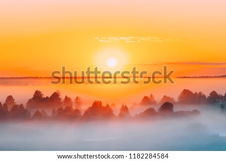 Sunrise Over Misty Landscape. Scenic View Of Foggy Morning Sky With Rising Sun Above Misty Forest. Middle Summer Nature Of Europe. #1182284584