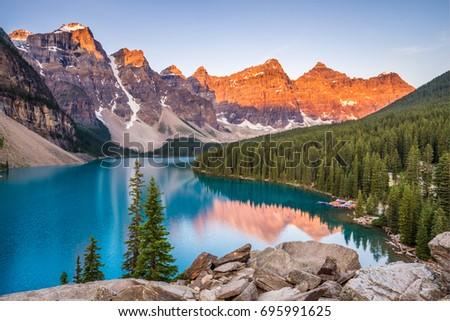 sunrise over moraine lake ...
