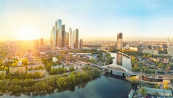 Sunrise over Moscow City district and Moscow river