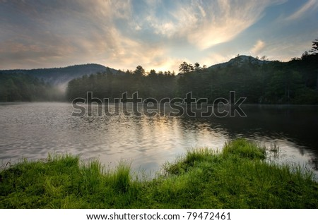 Sunrise over Mountain Lake, near Cashiers North Carolina