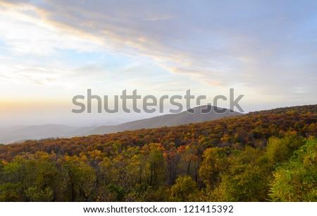 Sunrise over mountains at Shenandoah National Park