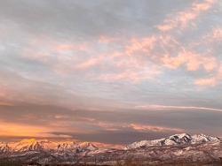 Sunrise over Mt Timpanogos, Heber Valley, Utah. Fall morning.