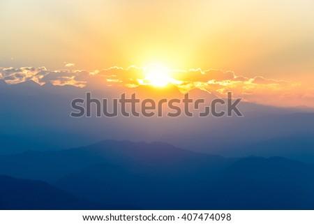 Sunrise over Nagarkot, Kathmandu valley #407474098