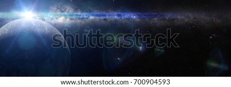 sunrise over planet Mercury lit by the Sun and the Milky Way galaxy (3d render banner, elements of this image are furnished by NASA)