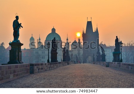 sunrise over Prague - look from Charles (Karluv) bridge